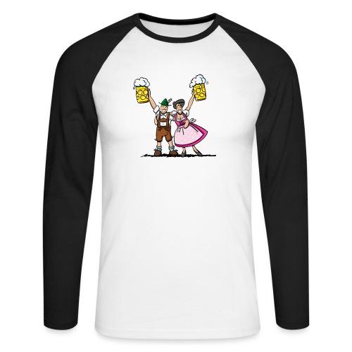 Fröhliches Oktoberfest Paar mit Bierkrug - Männer Baseballshirt langarm