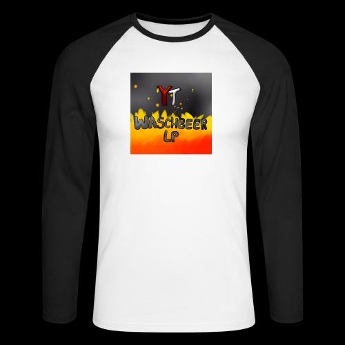 Waschbeer Design 2# Mit Flammen - Männer Baseballshirt langarm