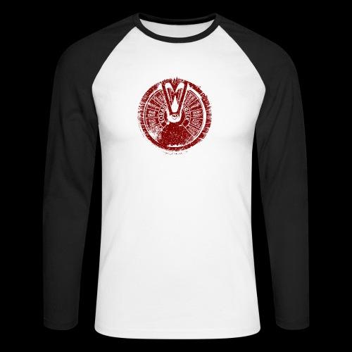 Maschinentelegraph (czerwona oldstyle) - Koszulka męska bejsbolowa z długim rękawem