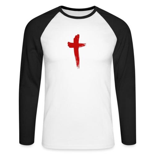 Kreuz rot - Männer Baseballshirt langarm