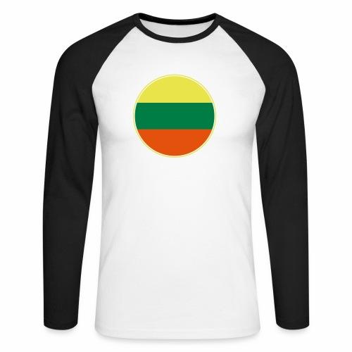 Litauen Flagge Rund Pixellamb - Männer Baseballshirt langarm