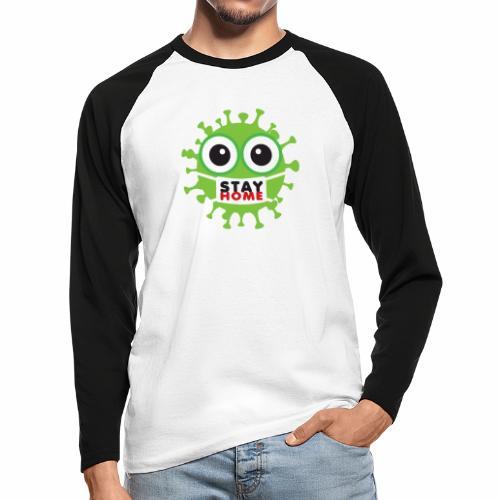 Stay at home, zostań w domu - Koszulka męska bejsbolowa z długim rękawem