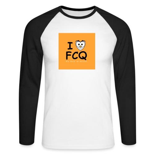 I Love FCQ button orange - Männer Baseballshirt langarm