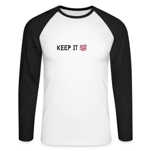 KEEP IT 100 ZWART png - Mannen baseballshirt lange mouw