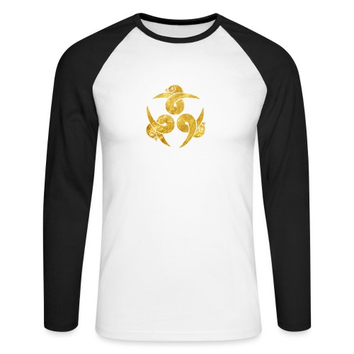 Three Geese Japanese Kamon in gold - Men's Long Sleeve Baseball T-Shirt