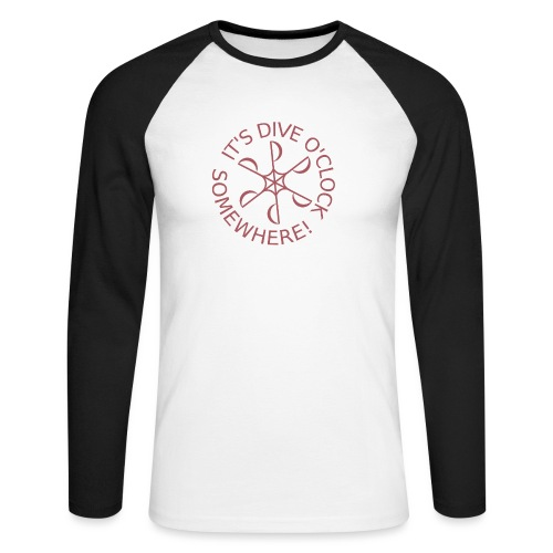 Dive o clock Dark Pink - Men's Long Sleeve Baseball T-Shirt