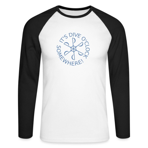 Dive o clock Light Blue - Men's Long Sleeve Baseball T-Shirt