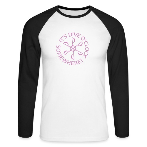 diveoclocklogodlpink png - Men's Long Sleeve Baseball T-Shirt