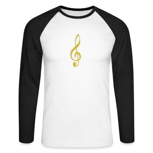 Goldenes Musik Schlüssel Symbol Chopped Up - Men's Long Sleeve Baseball T-Shirt