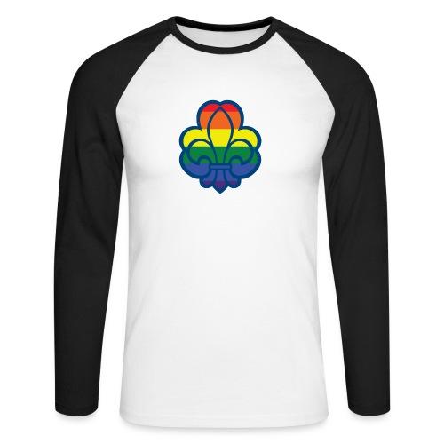 Regnbuespejder hvide t-shirts - Langærmet herre-baseballshirt