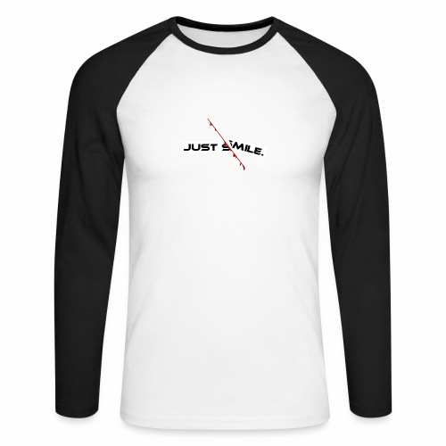 JUST SMILE Design mit blutigem Schnitt, Depression - Männer Baseballshirt langarm