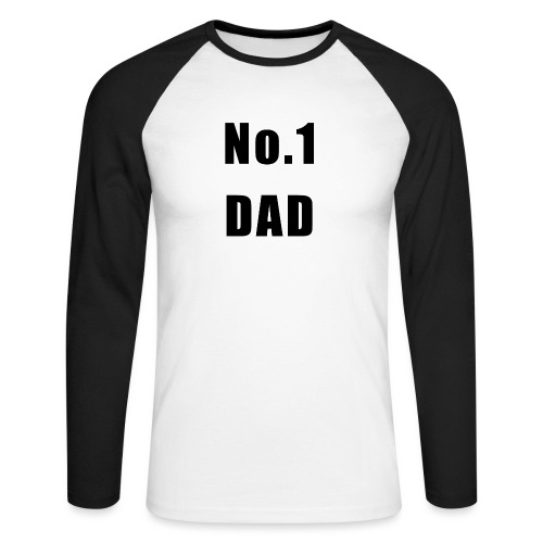Number One Dad. Black text for light backgrounds. - Men's Long Sleeve Baseball T-Shirt