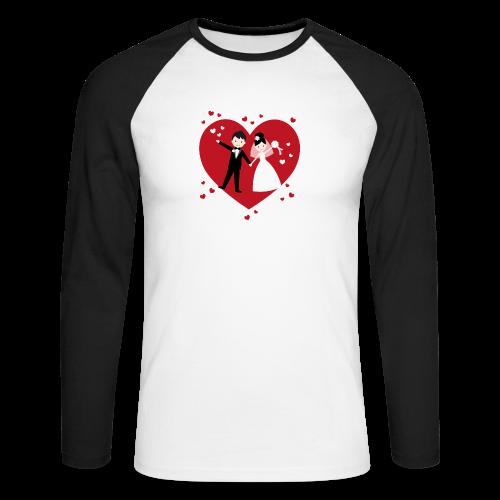 Hochzeitspaar mit vielen Herzen - Rot - Männer Baseballshirt langarm