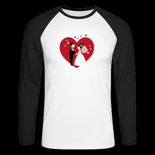 Hochzeitspaar im Comic Stil mit Rotem Herz - Männer Baseballshirt langarm