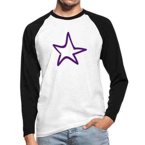 Star Outline Pixellamb - Männer Baseballshirt langarm