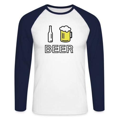 I Love Beer (3-farbig) - Männer Baseballshirt langarm