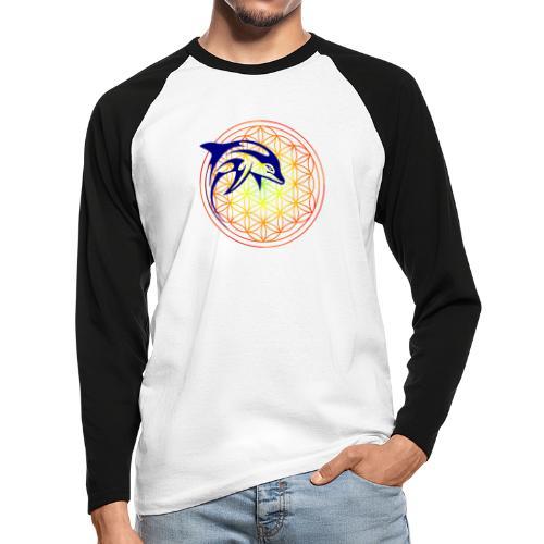 fleur de vie dauphin - T-shirt baseball manches longues Homme
