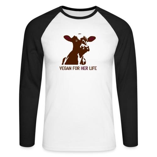 vegan for her life - Männer Baseballshirt langarm