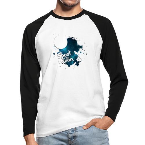 Shoot for the Moon Galaxy Edition - Men's Long Sleeve Baseball T-Shirt