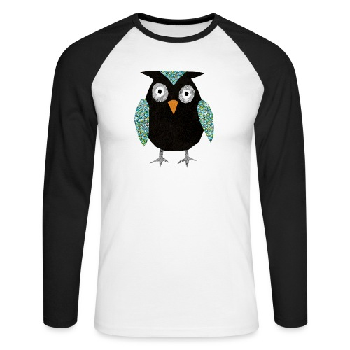 Collage mosaic owl - Men's Long Sleeve Baseball T-Shirt