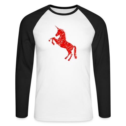 unicorn red - Koszulka męska bejsbolowa z długim rękawem