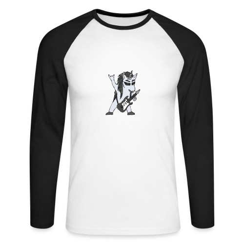 Licorne guitare metal N&B sans fond - T-shirt baseball manches longues Homme