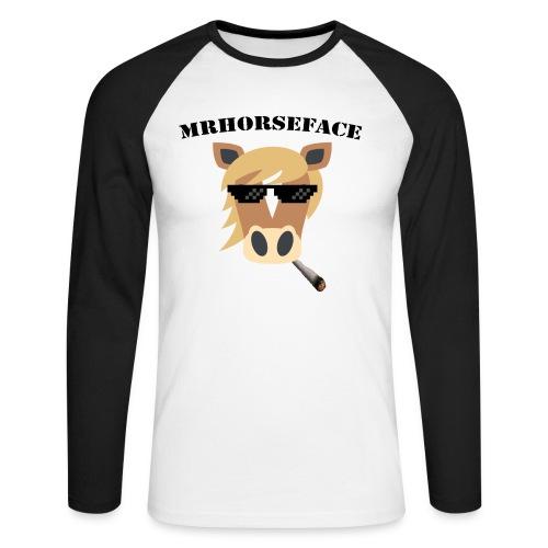 MrHorseFace - Mannen baseballshirt lange mouw