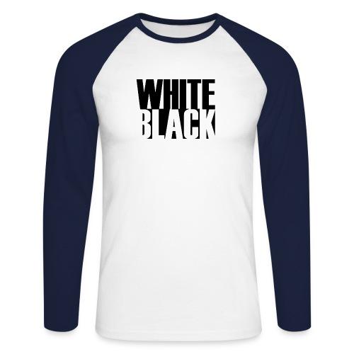 White, Black T-shirt - Mannen baseballshirt lange mouw