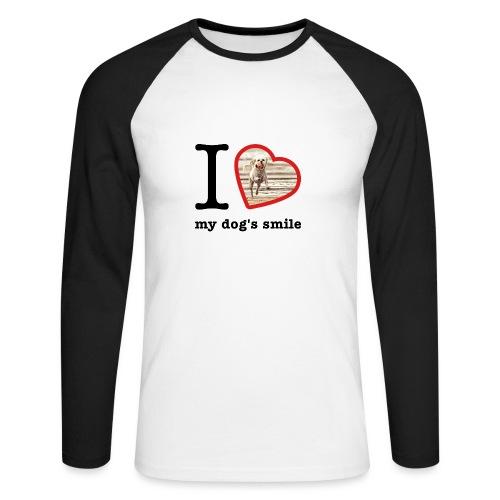 I love my dog's smile :) dog smile - Men's Long Sleeve Baseball T-Shirt