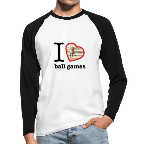 I love ball games Dog playing ball retrieving ball - Men's Long Sleeve Baseball T-Shirt