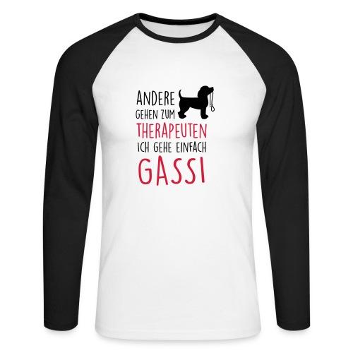 Vorschau: Gassi Therapeut Hund - Männer Baseballshirt langarm