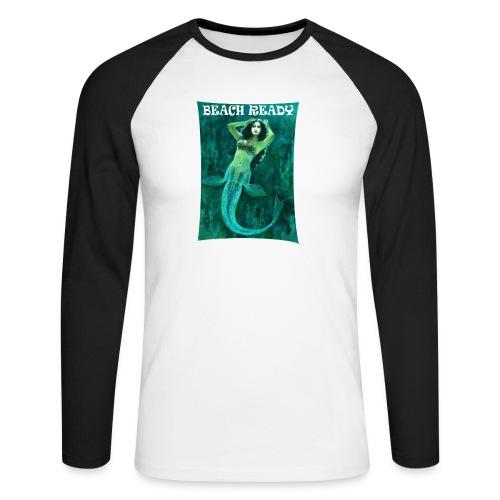 Vintage Pin-up Beach Ready Mermaid - Men's Long Sleeve Baseball T-Shirt