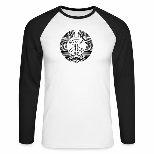 DDR Tuning Coat of Arms 1c (+ Your Text) - Men's Long Sleeve Baseball T-Shirt