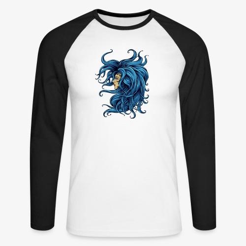 Dame im Blau - Männer Baseballshirt langarm
