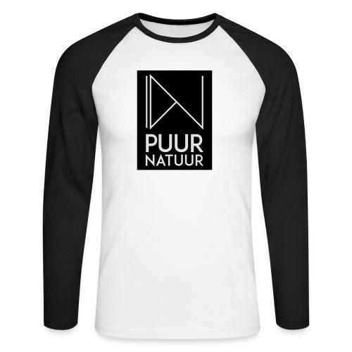 Logo puur natuur negatief - Mannen baseballshirt lange mouw