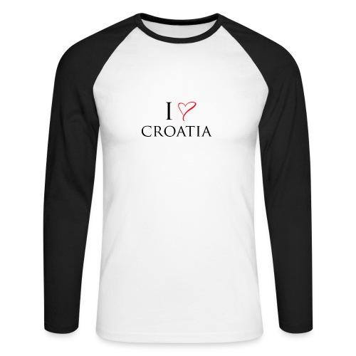 i love croatia - Koszulka męska bejsbolowa z długim rękawem