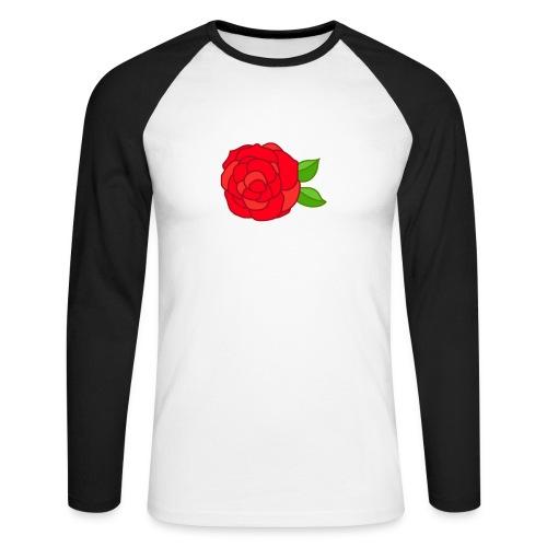 Róża - Koszulka męska bejsbolowa z długim rękawem