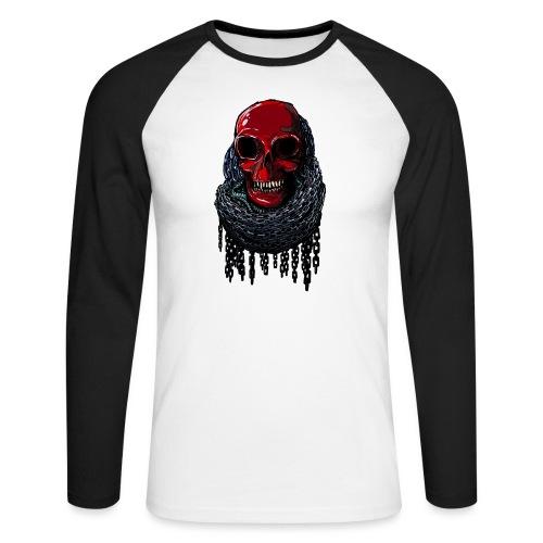 RED Skull in Chains - Men's Long Sleeve Baseball T-Shirt