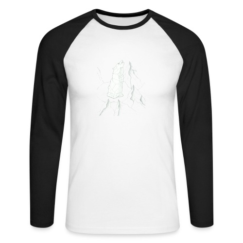 howling geometric wolf - Männer Baseballshirt langarm
