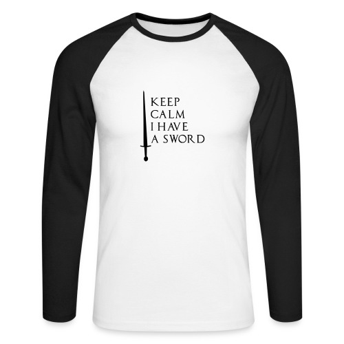 ARCHEODOM vetement logo keep calm i have a sword - T-shirt baseball manches longues Homme