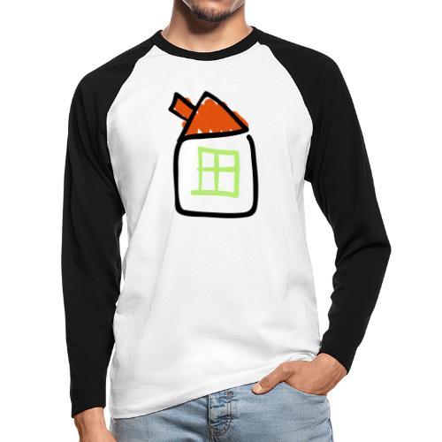 House Line Drawing Pixellamb - Männer Baseballshirt langarm