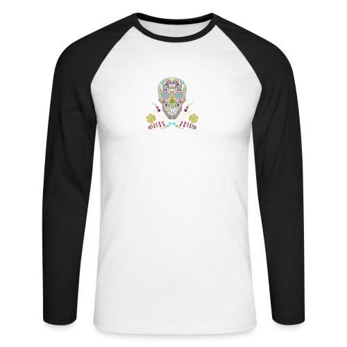 Bunter Totenkopf - Männer Baseballshirt langarm