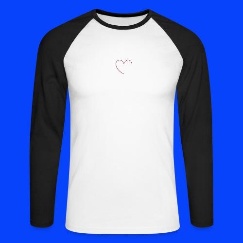 t-shirt bianca con cuore - Maglia da baseball a manica lunga da uomo
