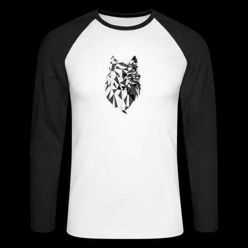 Polygoon wolf - Mannen baseballshirt lange mouw