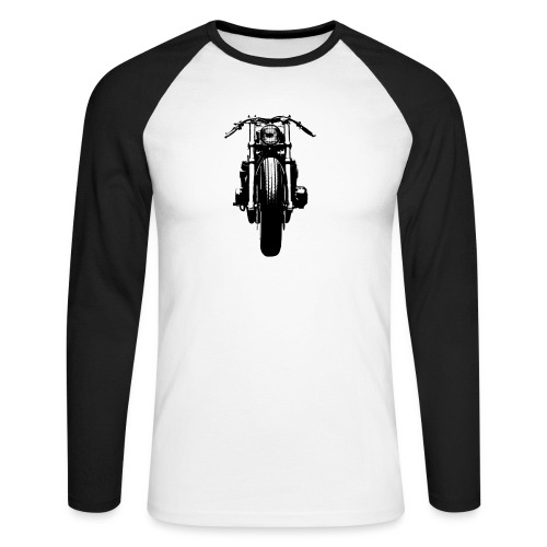 Motorcycle Front - Men's Long Sleeve Baseball T-Shirt