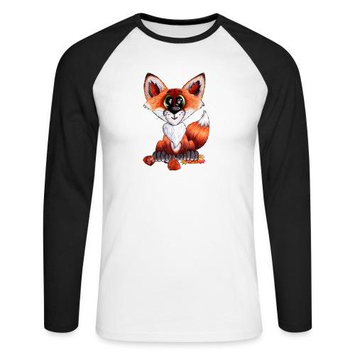 llwynogyn - a little red fox - Miesten pitkähihainen baseballpaita