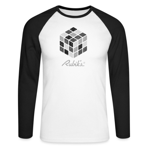 Rubik's Cube Black-And-White Print - Men's Long Sleeve Baseball T-Shirt