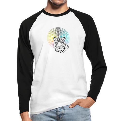 fleur de vie tigre - T-shirt baseball manches longues Homme