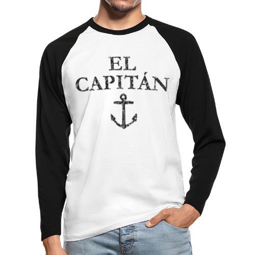 El Capitan Anker (Vintage Schwarz) Kapitän Käpt'n - Männer Baseballshirt langarm