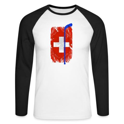 Schweizer Flagge Hockey - Männer Baseballshirt langarm
